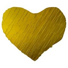 Golden Texture Rough Canvas Golden Large 19  Premium Heart Shape Cushions
