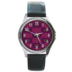 Pattern Decoration Art Abstract Round Metal Watch