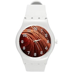 Abstract Fractal Digital Art Round Plastic Sport Watch (m)