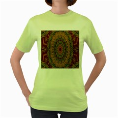India Mystic Background Ornamental Women s Green T Shirt