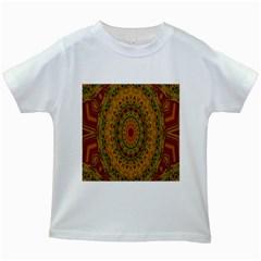India Mystic Background Ornamental Kids White T Shirts by Nexatart