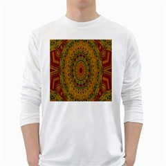 India Mystic Background Ornamental White Long Sleeve T Shirts