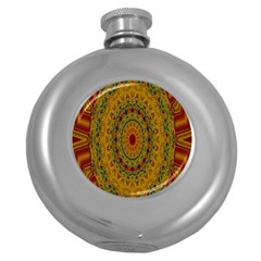 India Mystic Background Ornamental Round Hip Flask (5 Oz)