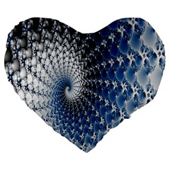 Mandelbrot Fractal Abstract Ice Large 19  Premium Flano Heart Shape Cushions