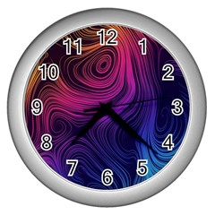 Abstract Pattern Art Wallpaper Wall Clocks (silver)
