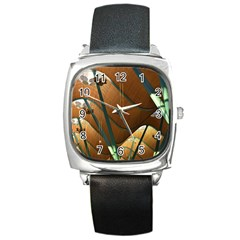 Airport Pattern Shape Abstract Square Metal Watch