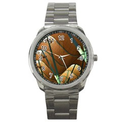 Airport Pattern Shape Abstract Sport Metal Watch