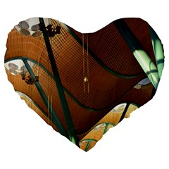Airport Pattern Shape Abstract Large 19  Premium Heart Shape Cushions