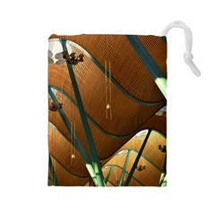 Airport Pattern Shape Abstract Drawstring Pouches (large)