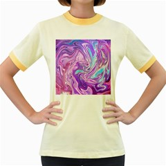 Abstract Art Texture Form Pattern Women s Fitted Ringer T Shirts