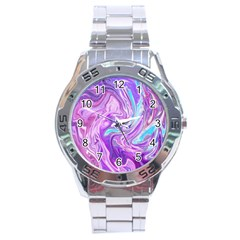 Abstract Art Texture Form Pattern Stainless Steel Analogue Watch
