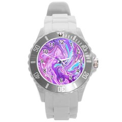 Abstract Art Texture Form Pattern Round Plastic Sport Watch (l)