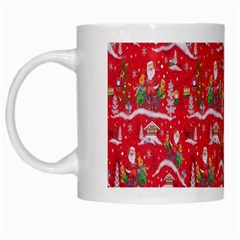 Red Background Christmas White Mugs