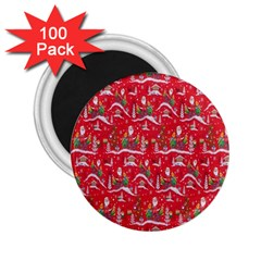 Red Background Christmas 2 25  Magnets (100 Pack)  by Nexatart