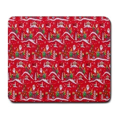 Red Background Christmas Large Mousepads