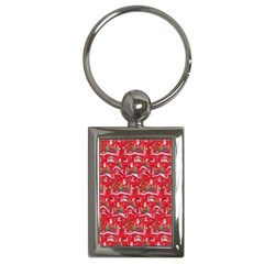 Red Background Christmas Key Chains (rectangle)
