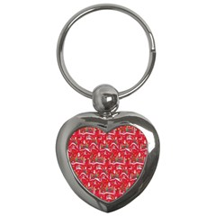 Red Background Christmas Key Chains (heart)