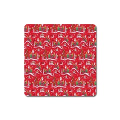 Red Background Christmas Square Magnet