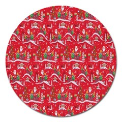 Red Background Christmas Magnet 5  (round)