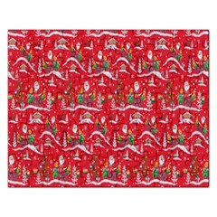 Red Background Christmas Rectangular Jigsaw Puzzl