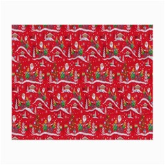 Red Background Christmas Small Glasses Cloth