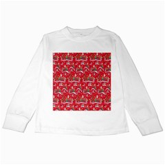 Red Background Christmas Kids Long Sleeve T Shirts by Nexatart