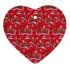 Red Background Christmas Heart Ornament (two Sides)
