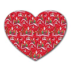 Red Background Christmas Heart Mousepads by Nexatart