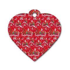 Red Background Christmas Dog Tag Heart (two Sides)