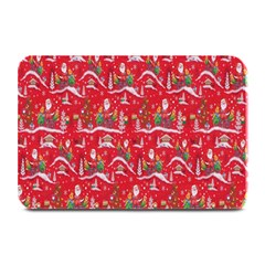 Red Background Christmas Plate Mats