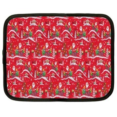 Red Background Christmas Netbook Case (large)