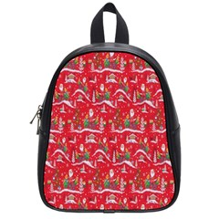 Red Background Christmas School Bag (small)