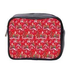 Red Background Christmas Mini Toiletries Bag 2 Side