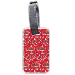 Red Background Christmas Luggage Tags (one Side)