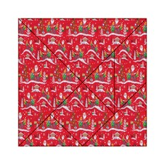 Red Background Christmas Acrylic Tangram Puzzle (6  X 6 )