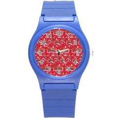 Red Background Christmas Round Plastic Sport Watch (s)
