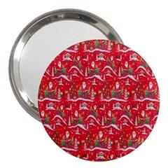 Red Background Christmas 3  Handbag Mirrors