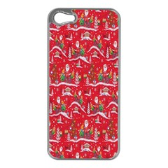 Red Background Christmas Apple Iphone 5 Case (silver) by Nexatart