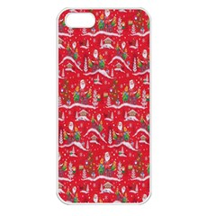 Red Background Christmas Apple Iphone 5 Seamless Case (white)