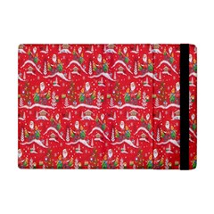 Red Background Christmas Apple Ipad Mini Flip Case