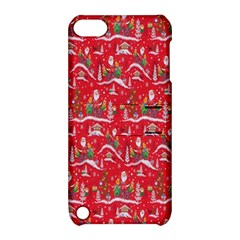 Red Background Christmas Apple Ipod Touch 5 Hardshell Case With Stand