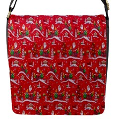 Red Background Christmas Flap Messenger Bag (s)