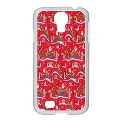 Red Background Christmas Samsung Galaxy S4 I9500/ I9505 Case (white) by Nexatart
