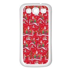 Red Background Christmas Samsung Galaxy S3 Back Case (white)