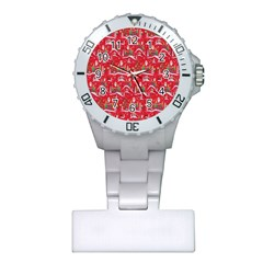 Red Background Christmas Plastic Nurses Watch