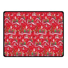 Red Background Christmas Double Sided Fleece Blanket (small)  by Nexatart