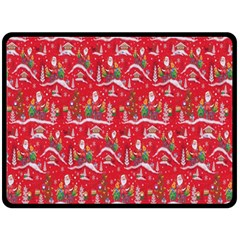 Red Background Christmas Double Sided Fleece Blanket (large)  by Nexatart