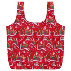 Red Background Christmas Full Print Recycle Bags (l)