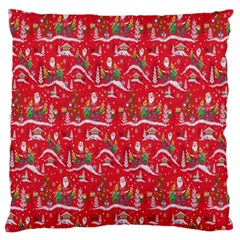 Red Background Christmas Large Flano Cushion Case (two Sides)