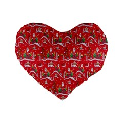 Red Background Christmas Standard 16  Premium Flano Heart Shape Cushions by Nexatart